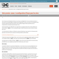 Votre premier .emacs : la configuration d'Emacs pour les zéros