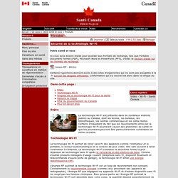 Sécurité de la technologie Wi-Fi (santé Canada)