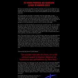 Si vous vous sentez suicidaire, lisez-ceci