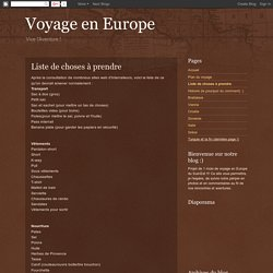 Voyage en Europe: Liste de choses à prendre