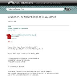 Voyage of The Paper Canoe by N. H. Bishop