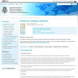 Conseil aux voyageurs Argentine - Conseils par destination