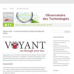 Voyant tools : un environnement en ligne d'analyse de textes