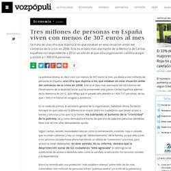 Tres millones de personas en España viven con menos de 307 euros al mes