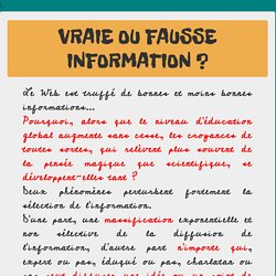 Vraie ou fausse information?