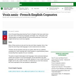 Vrais Amis - French English True Cognates