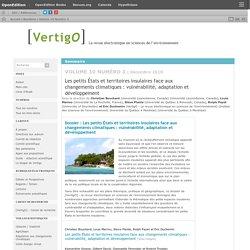 décembre 2010 Les petits États et territoires insulaires face aux changements climatiques : vulnérabilité, adaptation et développement