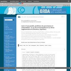 Accès à l'eau potable, problèmes de gouvernance et vulnérabilités: le cas de la municipalité de Las Heras (agglomération de Mendoza, Argentine)