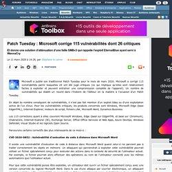Patch Tuesday : Microsoft corrige 115 vulnérabilités dont 26 critiques et donne une solution d'atténuation d'une faille SMBv3 qui rappelle l'exploit EternalBlue ayant servi à WannaCry