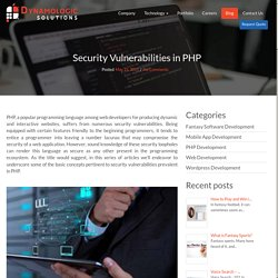 Security Vulnerabilities in PHP