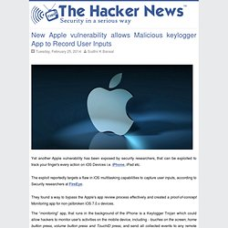New Apple vulnerability allows Malicious keylogger App to Record User Inputs