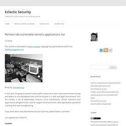 Pentest lab vulnerable servers-applications list