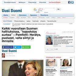 """Kaikki vuorollaan Suomen hallituksissa, """"lopputulos surkea"""" – Pamfletti: Herätys, puolueet, valta siirtyi jo ihmisille"""