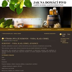 Výroba piva ze surovin - voda, slad, chmel