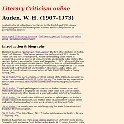 W. H. Auden Literary Criticism
