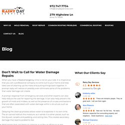 Don't Wait to Call for Water Damage Repairs