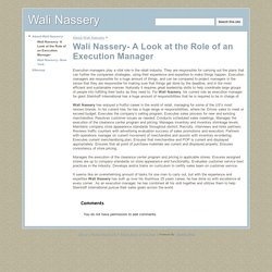Wali Nassery- A Look at the Role of an Execution Manager
