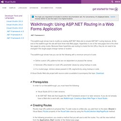 Walkthrough: Using ASP.NET Routing in a Web Forms Application