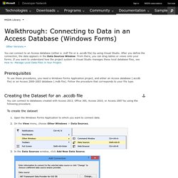Walkthrough: Connecting to Data in an Access Database (Windows Forms)
