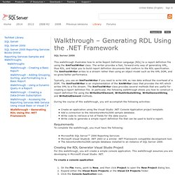 Walkthrough - Generating RDL Using the .NET Framework
