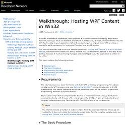 Walkthrough: Hosting WPF Content in Win32