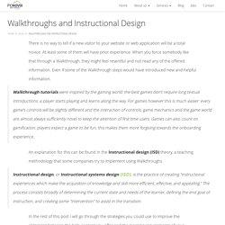 Walkthroughs and Instructional Design