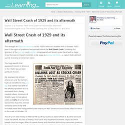 Wall Street Crash of 1929 and its aftermath