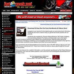 Download free detailing handbook guides, how-to videos, free wallpapers, and free screensavers!