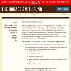 Walter S. Barr Fellowship