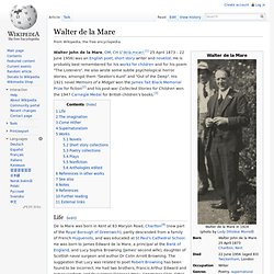 Walter de la Mare - Wikipedia, the free encyclopedia