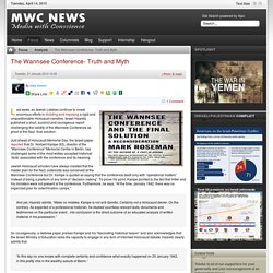 The Wannsee Conference- Truth and Myth