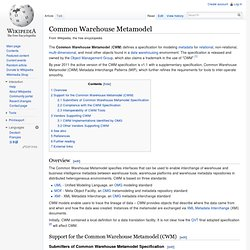 Common Warehouse Metamodel