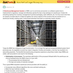 Benefits of Choosing a Good Warehouse Management System