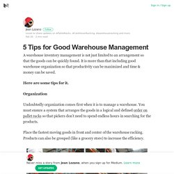 5 Tips for Good Warehouse Management