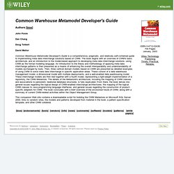 Common Warehouse Metamodel Developers Guide
