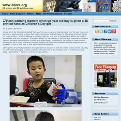Heart-warming moment when six-year-old boy is given a 3D printed hand as Children's Day gift