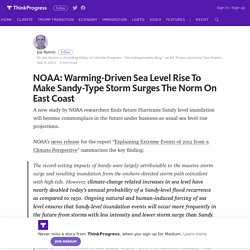 NOAA: Warming-Driven Sea Level Rise To Make Sandy-Type Storm Surges The Norm On East Coast