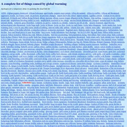 A Complete List Of Things Caused By Climate Change