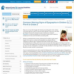 Dysgraphia Warning Signs in Young Children - Writing Learning Disability Signs