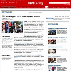 FBI warning of Haiti earthquake scams