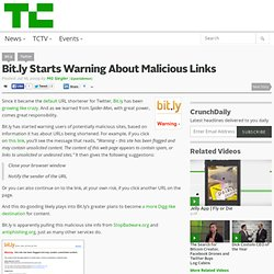 Bit.ly Starts Warning About Malicious Links