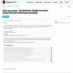 SSH warning - WARNING: REMOTE HOST IDENTIFICATION HAS CHANGE