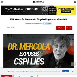 FDA Warns Dr. Mercola to Stop Writing About Vitamin D