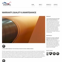 WARRANTY, QUALITY & MAINTENANCE