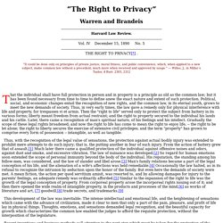 "Warren and Brandeis, ""The Right to Privacy"""