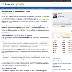 Warren Buffett on When to Sell a Stock — BRK-A, BRK-B — Investing Daily