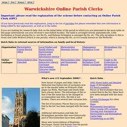 Warwickshire Online Parish Clerks