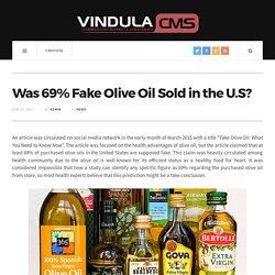 Was 69% Fake Olive Oil Sold in the U.S?
