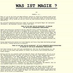 WAS IST MAGIE ? - Frater V.D.