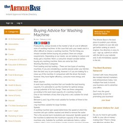 Buying Advice for Washing Machine – The Articles Base